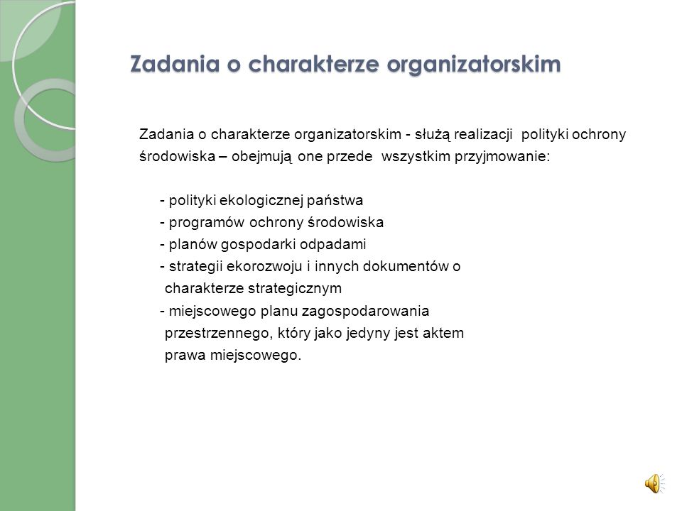 Zadania o charakterze organizatorskim