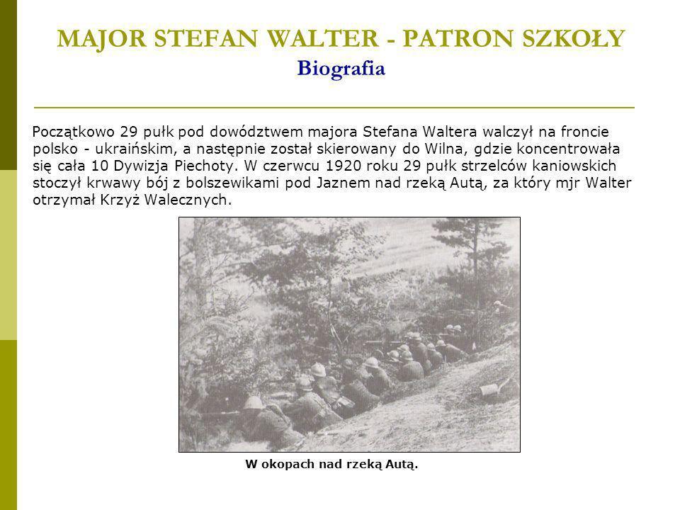 MAJOR STEFAN WALTER - PATRON SZKOŁY Biografia