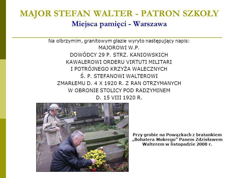 MAJOR STEFAN WALTER - PATRON SZKOŁY Miejsca pamięci - Warszawa