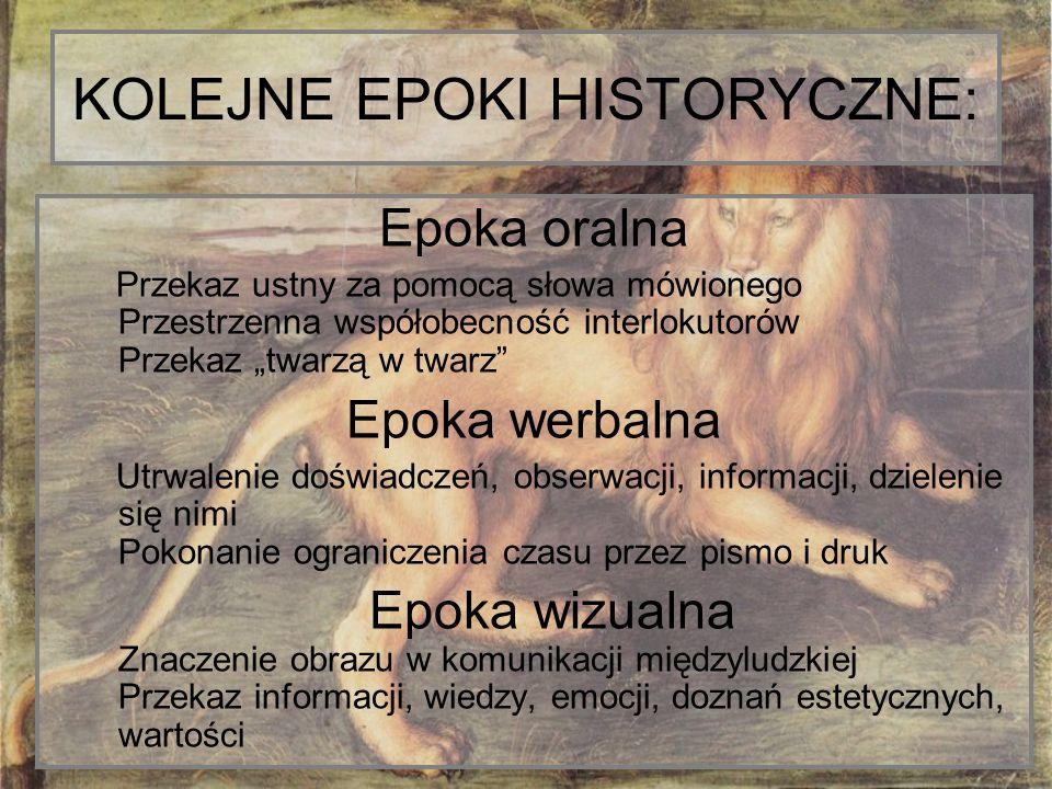 KOLEJNE EPOKI HISTORYCZNE: