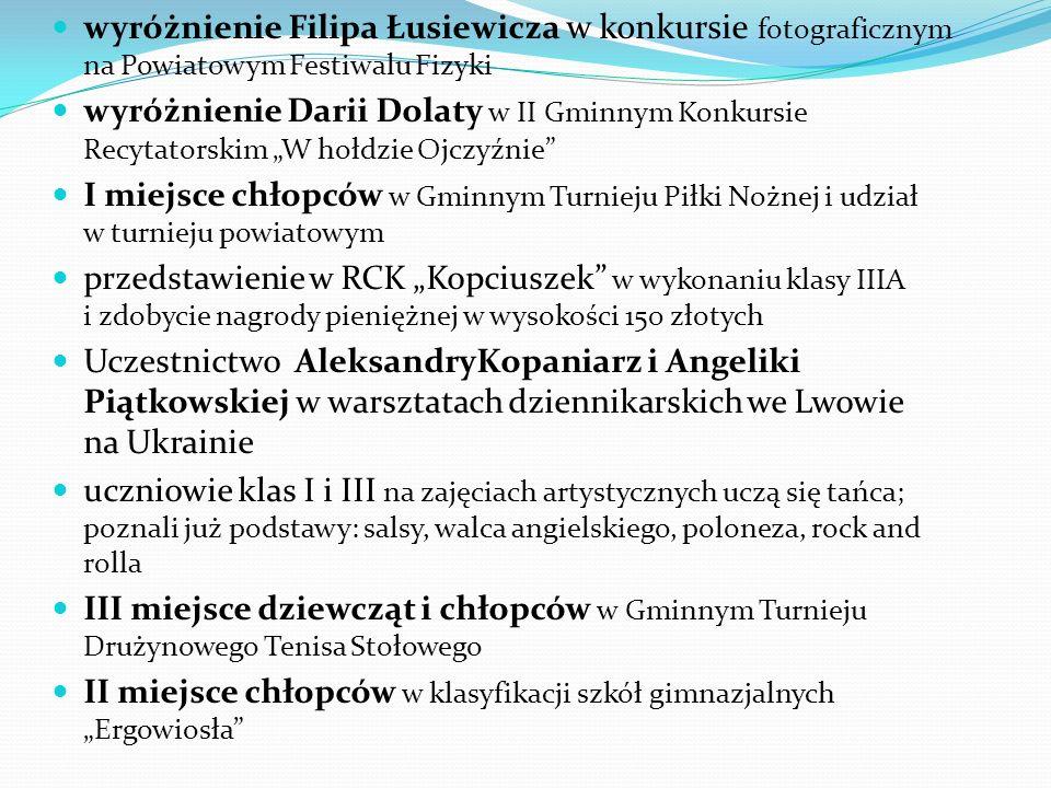 wyróżnienie Filipa Łusiewicza w konkursie fotograficznym na Powiatowym Festiwalu Fizyki