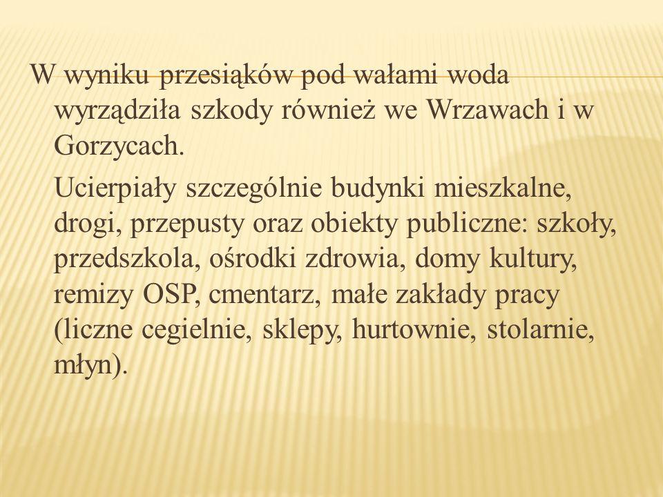 W wyniku przesiąków pod wałami woda wyrządziła szkody również we Wrzawach i w Gorzycach.