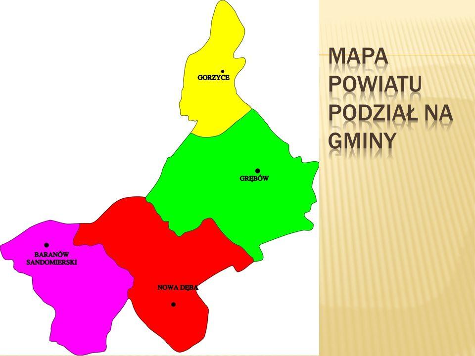 Mapa Powiatu Podział na gminy