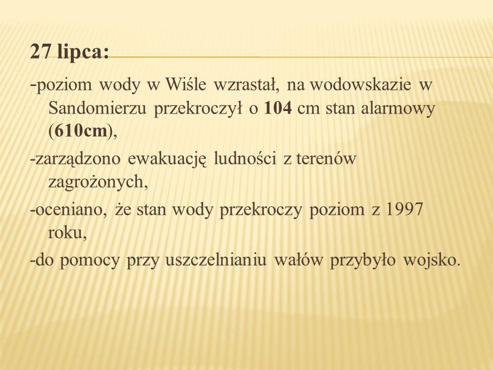 27 lipca: -poziom wody w Wiśle wzrastał, na wodowskazie w Sandomierzu przekroczył o 104 cm stan alarmowy (610cm),