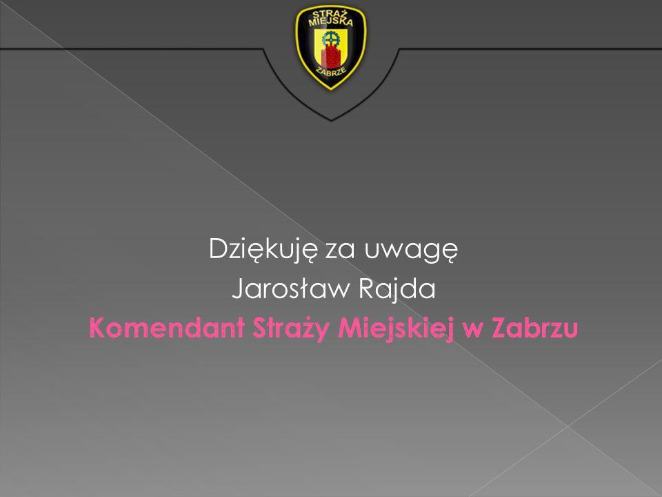 Dziękuję za uwagę Jarosław Rajda Komendant Straży Miejskiej w Zabrzu