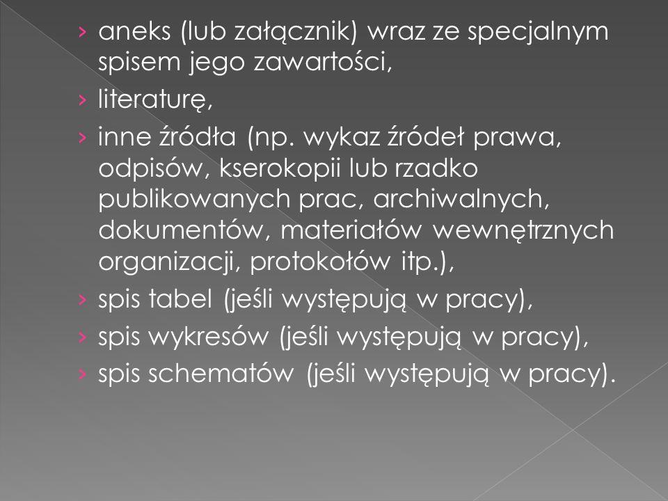 aneks (lub załącznik) wraz ze specjalnym spisem jego zawartości,