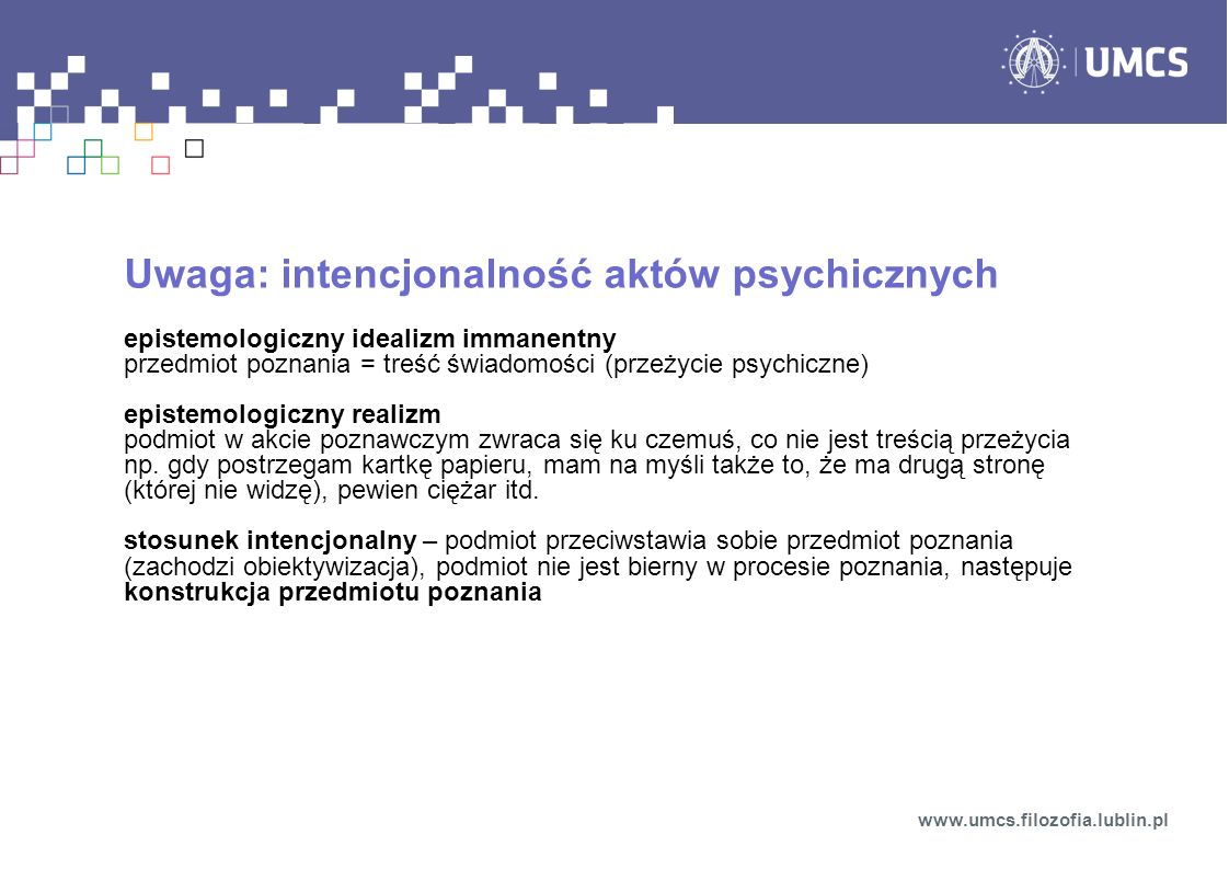 Uwaga: intencjonalność aktów psychicznych