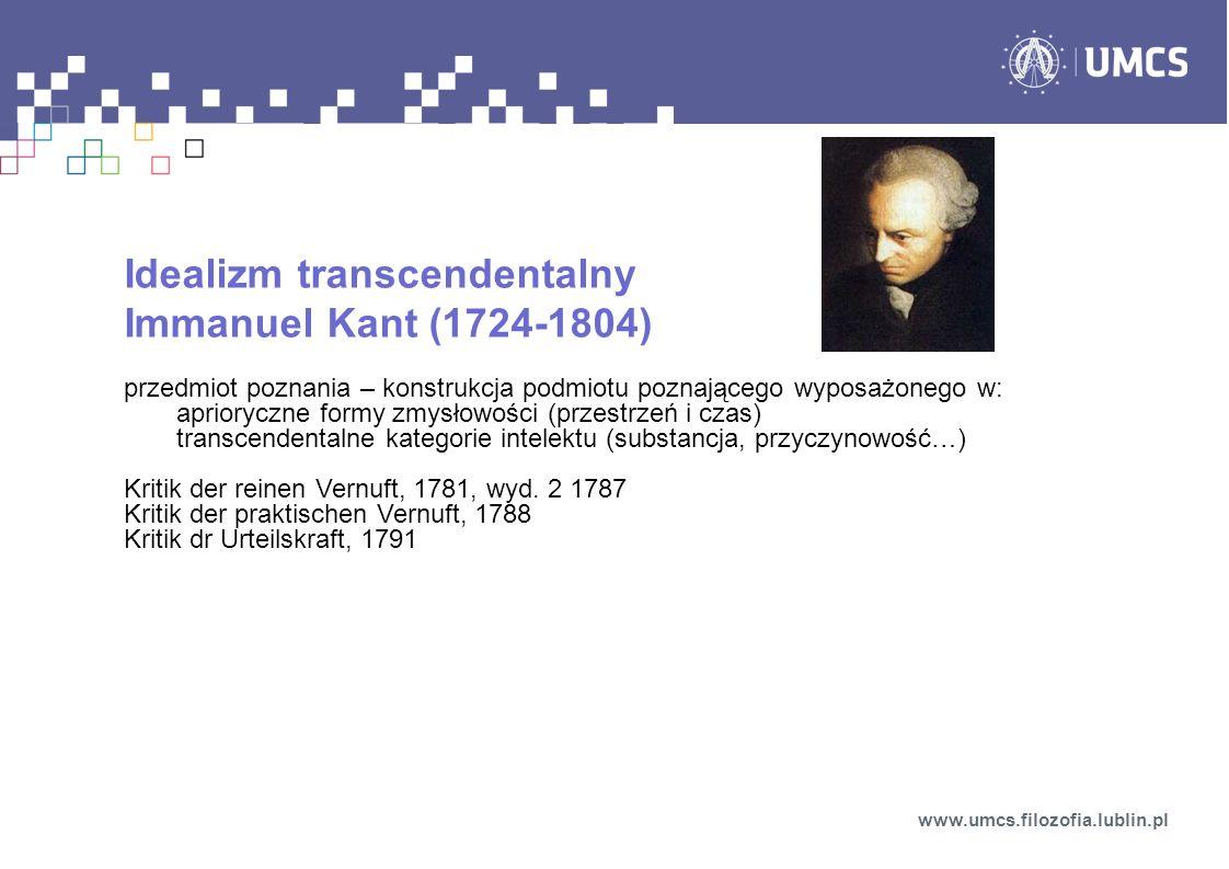 Idealizm transcendentalny Immanuel Kant (1724-1804)