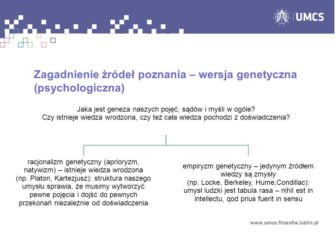 Zagadnienie źródeł poznania – wersja genetyczna (psychologiczna)