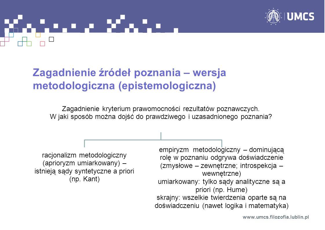 Zagadnienie źródeł poznania – wersja metodologiczna (epistemologiczna)