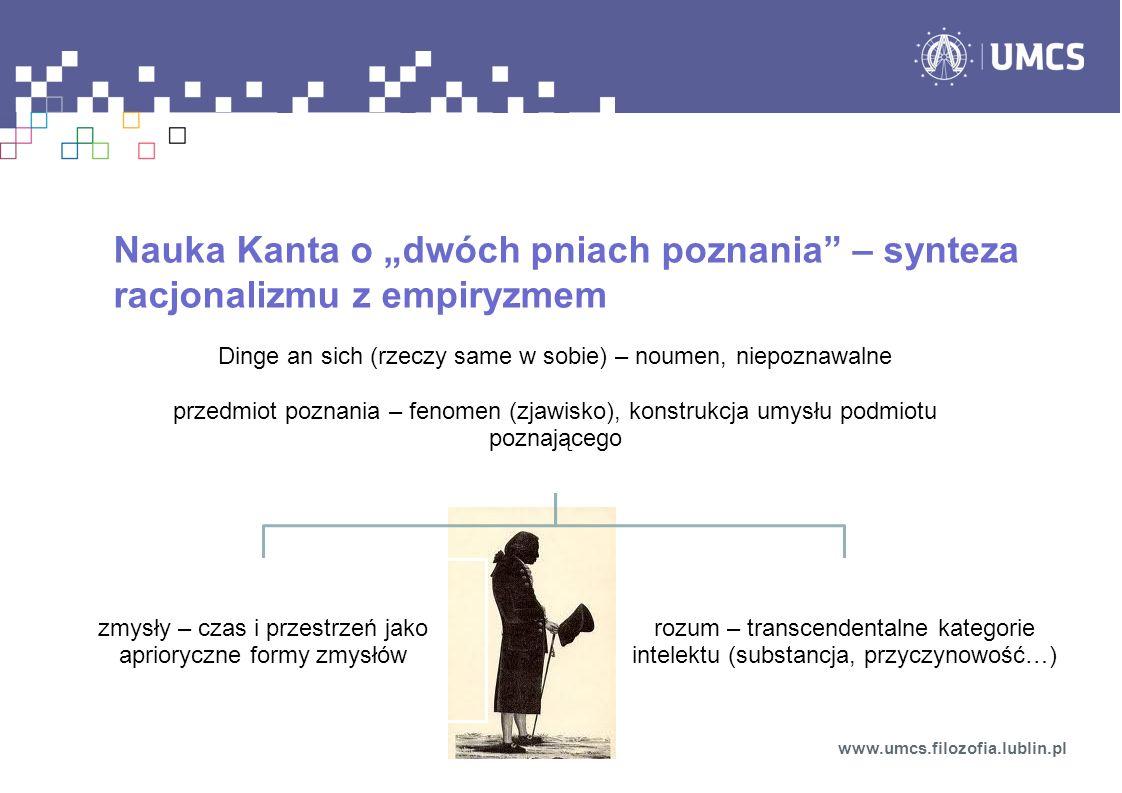 """Nauka Kanta o """"dwóch pniach poznania – synteza racjonalizmu z empiryzmem"""