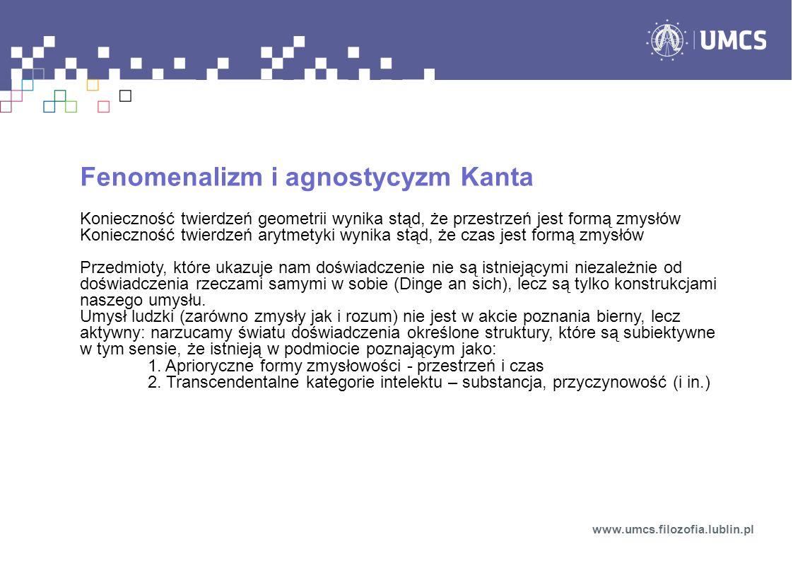 Fenomenalizm i agnostycyzm Kanta