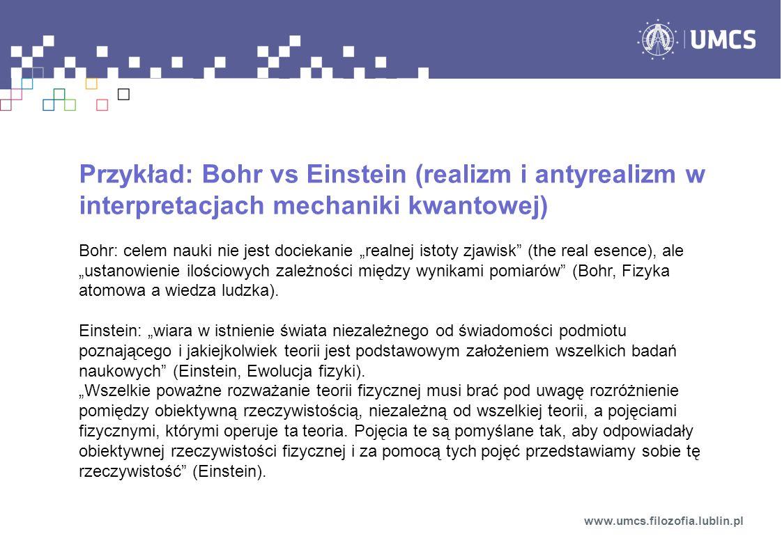Przykład: Bohr vs Einstein (realizm i antyrealizm w interpretacjach mechaniki kwantowej)