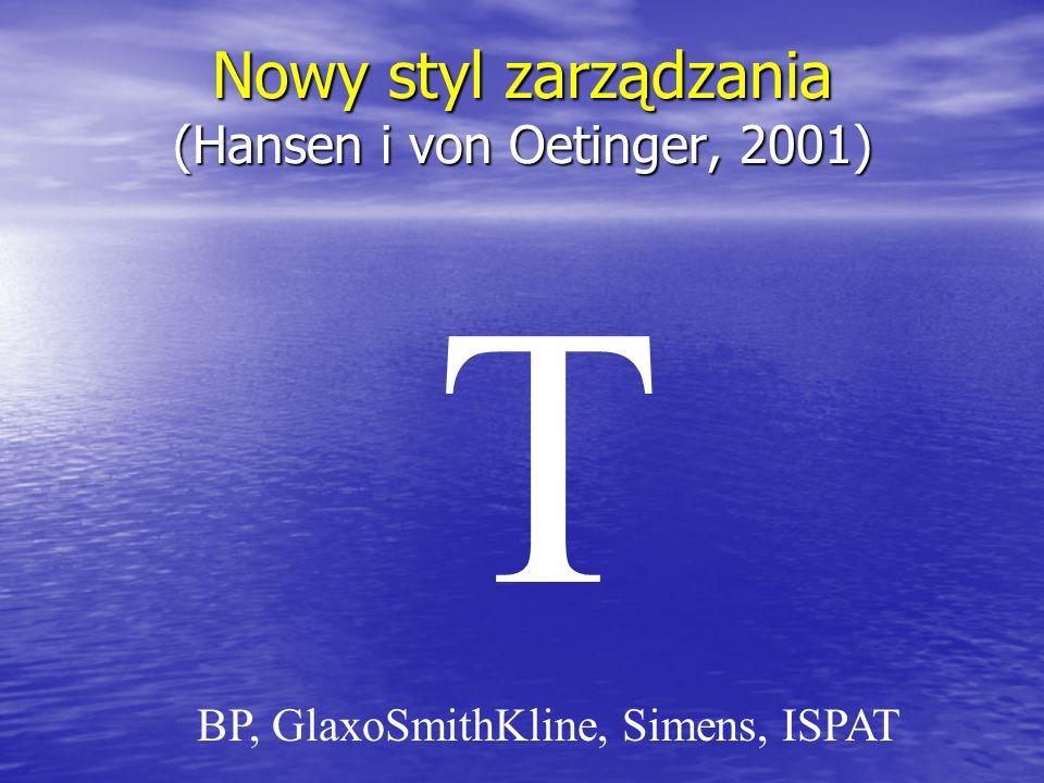 Nowy styl zarządzania (Hansen i von Oetinger, 2001)