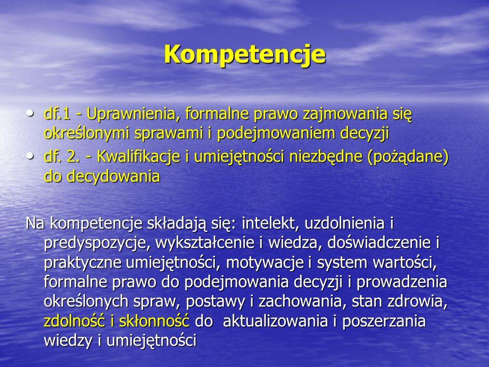 Kompetencje df.1 - Uprawnienia, formalne prawo zajmowania się określonymi sprawami i podejmowaniem decyzji.