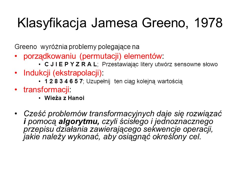 Klasyfikacja Jamesa Greeno, 1978