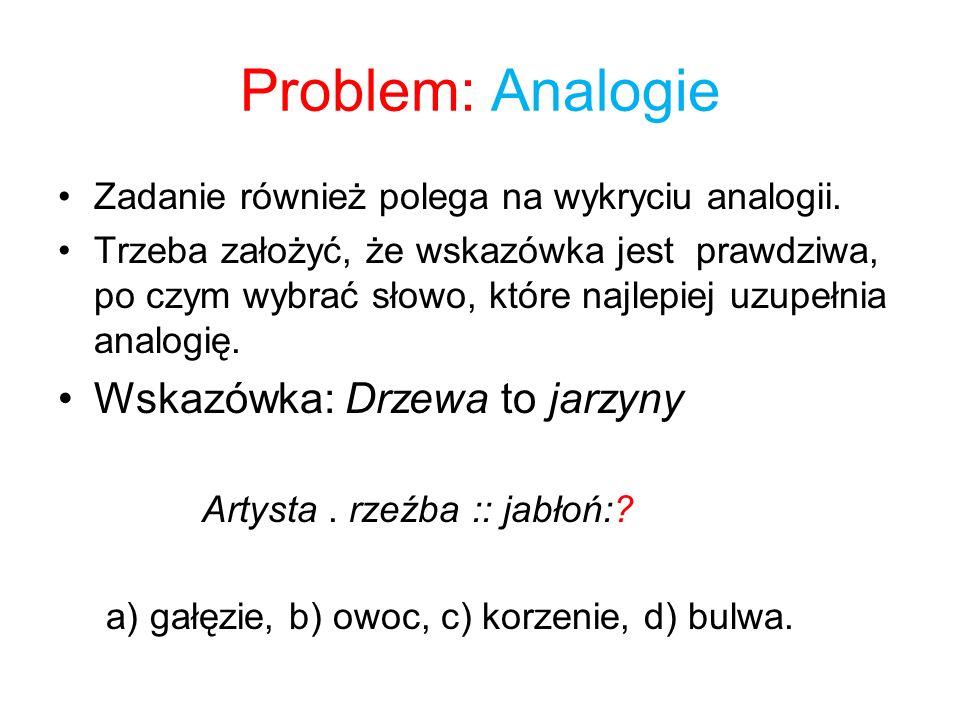 Problem: Analogie Wskazówka: Drzewa to jarzyny
