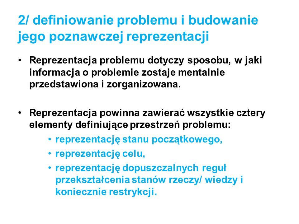 2/ definiowanie problemu i budowanie jego poznawczej reprezentacji