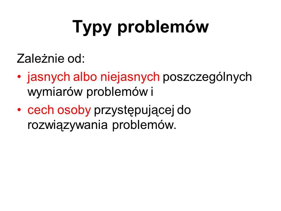 Typy problemów Zależnie od: