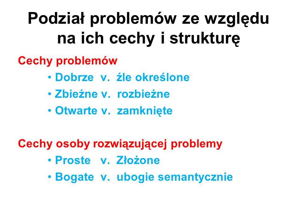 Podział problemów ze względu na ich cechy i strukturę