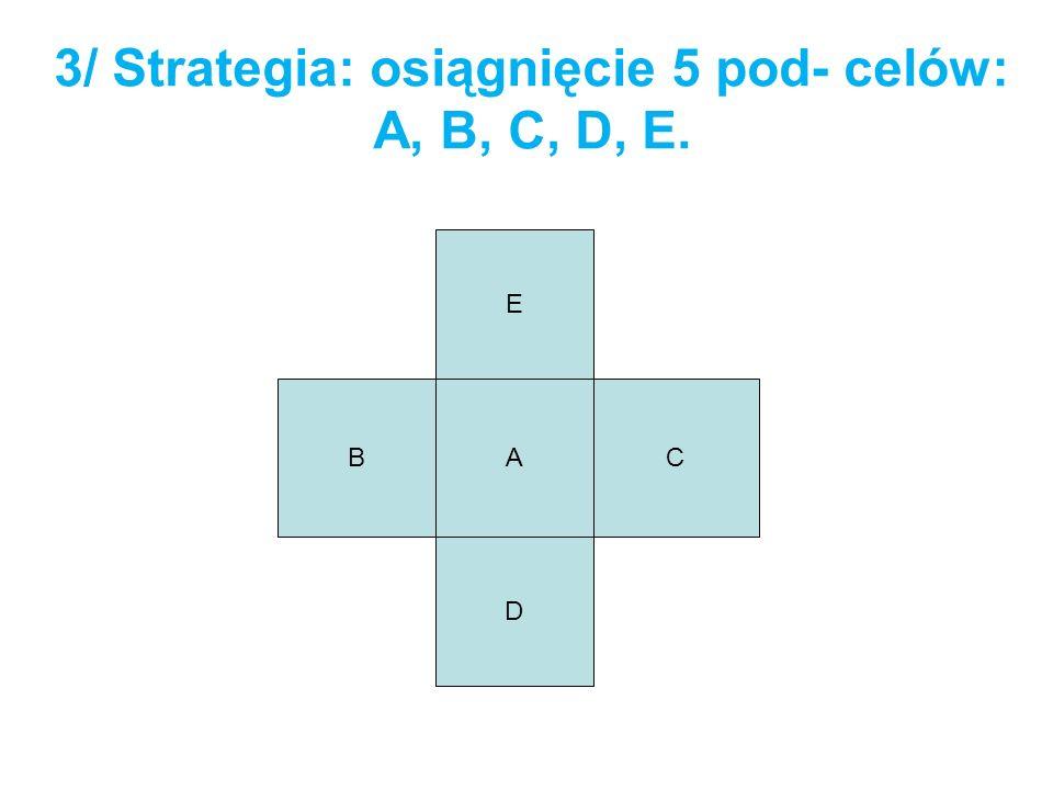 3/ Strategia: osiągnięcie 5 pod- celów: A, B, C, D, E.