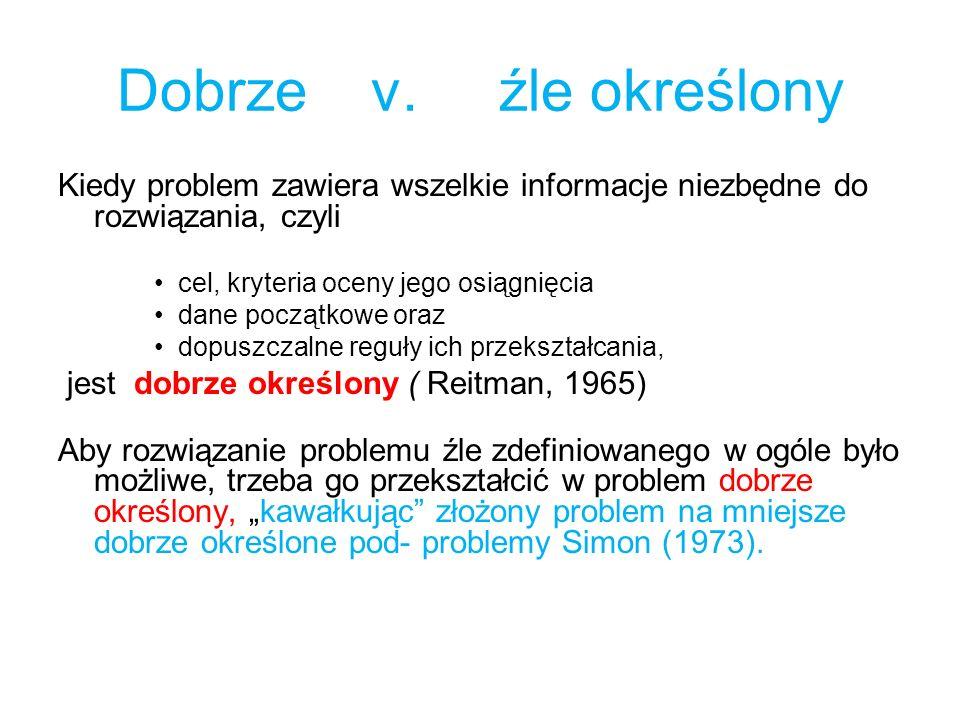 Dobrze v. źle określony Kiedy problem zawiera wszelkie informacje niezbędne do rozwiązania, czyli.