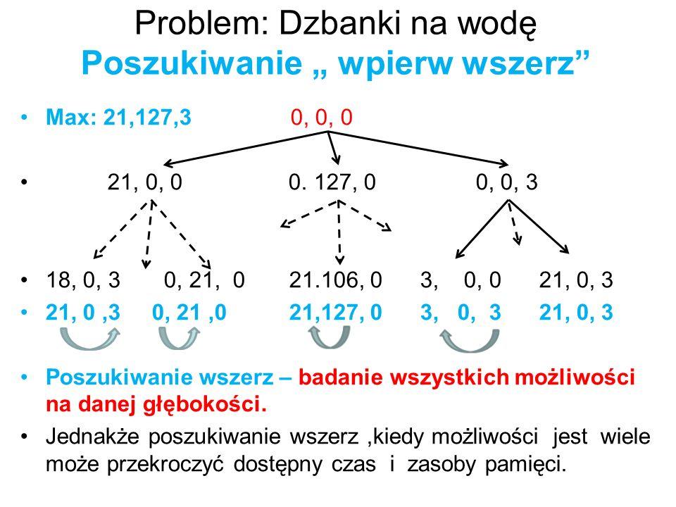 """Problem: Dzbanki na wodę Poszukiwanie """" wpierw wszerz"""