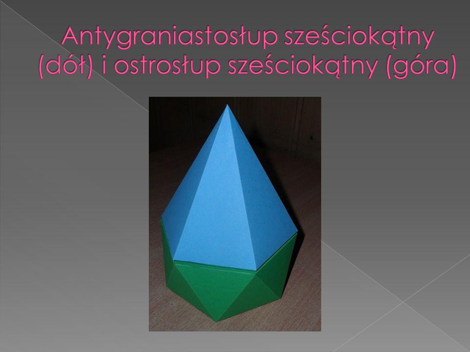Antygraniastosłup sześciokątny (dół) i ostrosłup sześciokątny (góra)