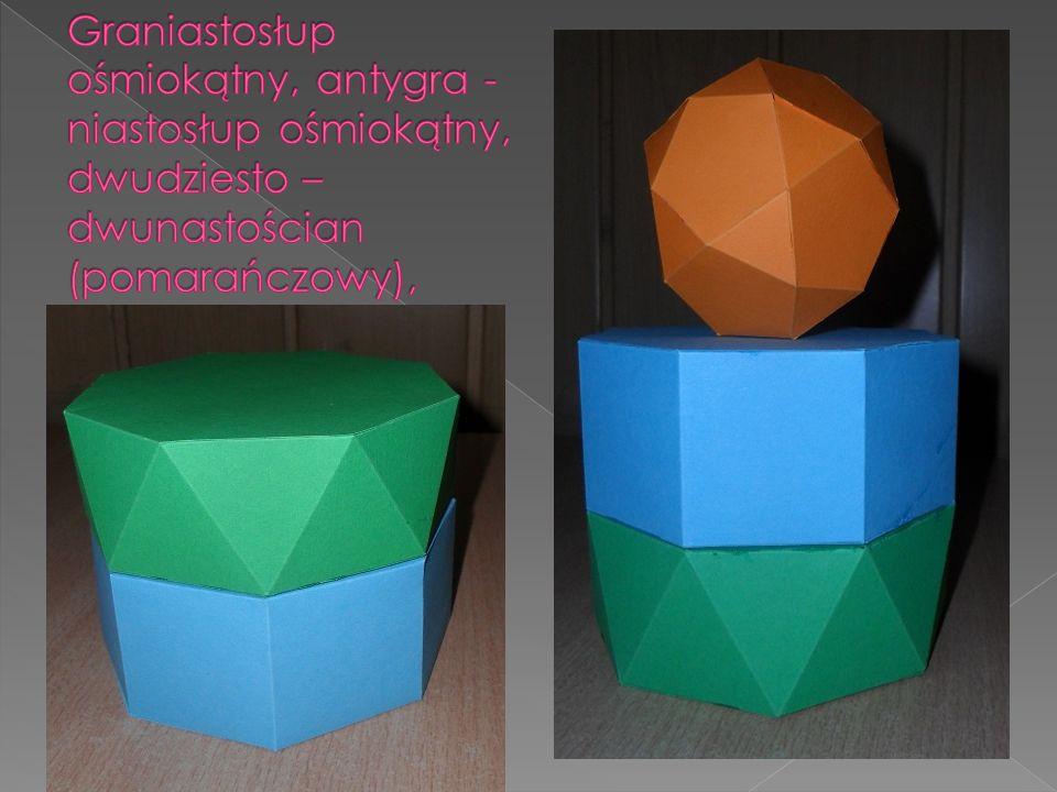 Graniastosłup ośmiokątny, antygra - niastosłup ośmiokątny, dwudziesto – dwunastościan (pomarańczowy),