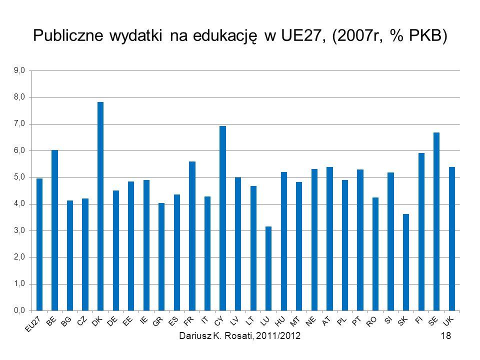 Publiczne wydatki na edukację w UE27, (2007r, % PKB)