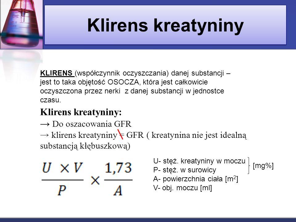 Klirens kreatyniny Klirens kreatyniny: → Do oszacowania GFR