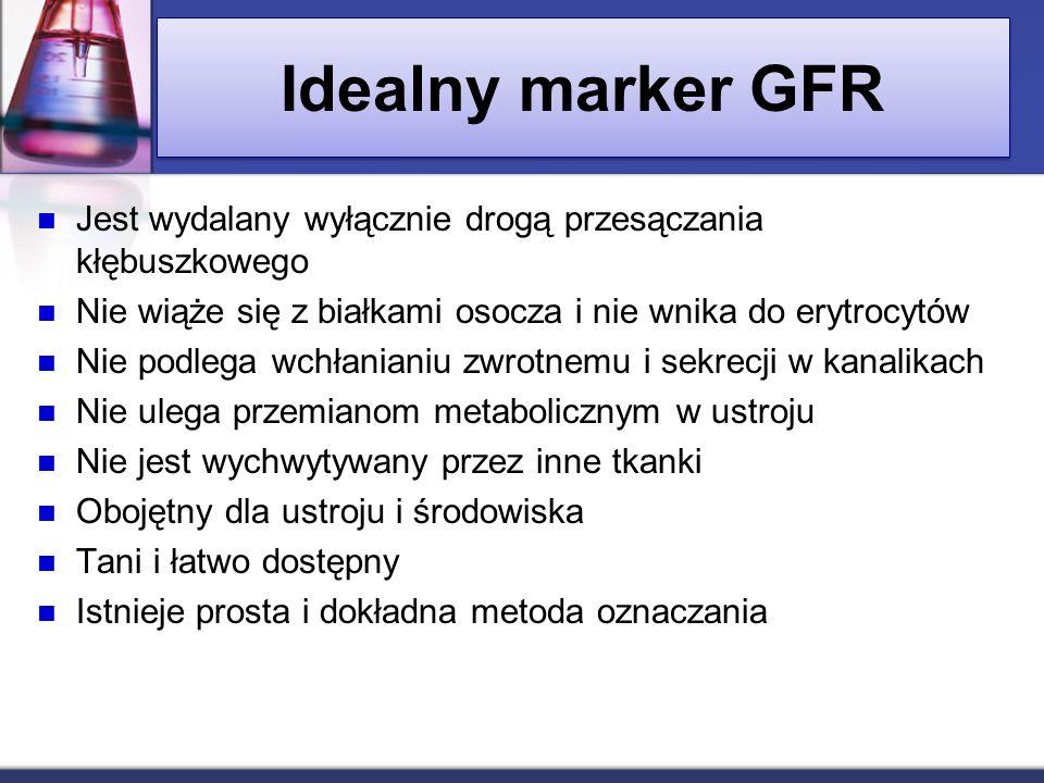 Idealny marker GFR Jest wydalany wyłącznie drogą przesączania kłębuszkowego. Nie wiąże się z białkami osocza i nie wnika do erytrocytów.