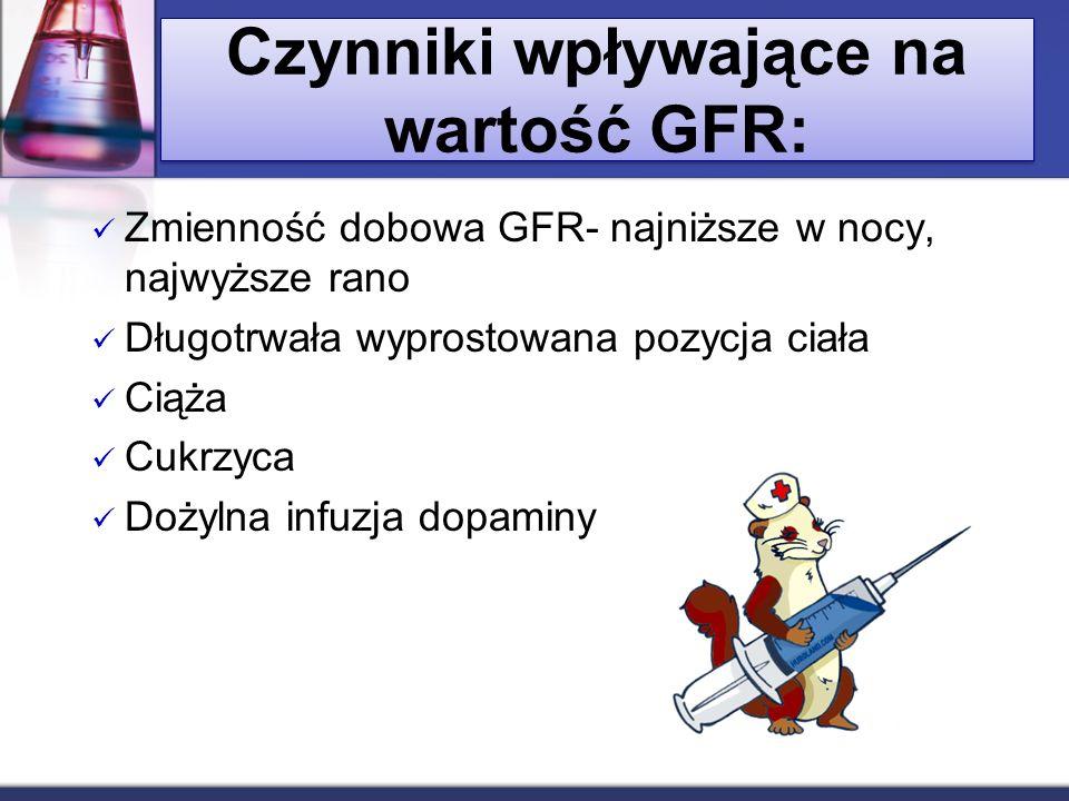 Czynniki wpływające na wartość GFR: