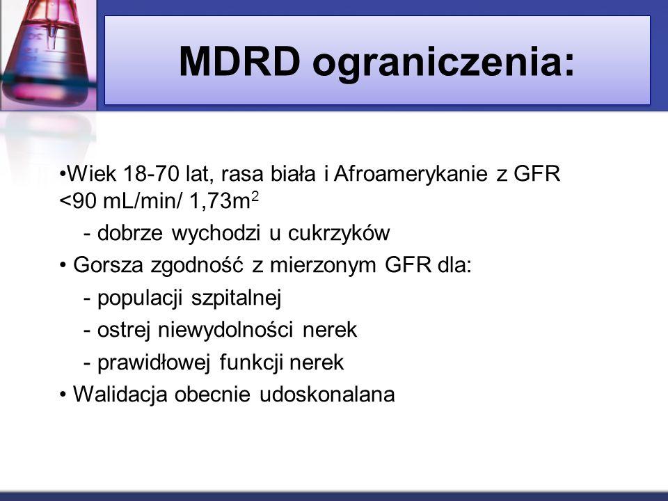 MDRD ograniczenia: Wiek 18-70 lat, rasa biała i Afroamerykanie z GFR <90 mL/min/ 1,73m2. - dobrze wychodzi u cukrzyków.