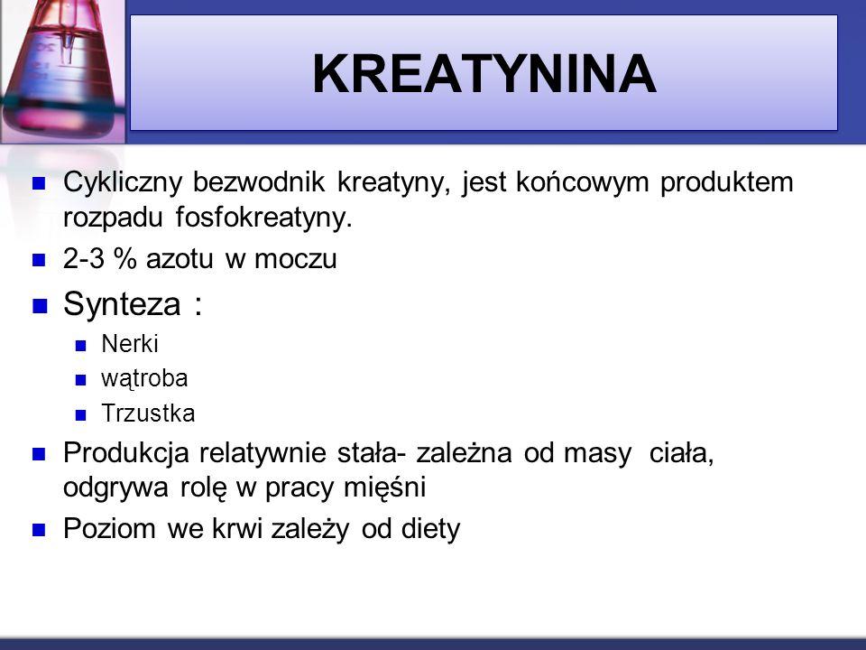 KREATYNINA Cykliczny bezwodnik kreatyny, jest końcowym produktem rozpadu fosfokreatyny. 2-3 % azotu w moczu.