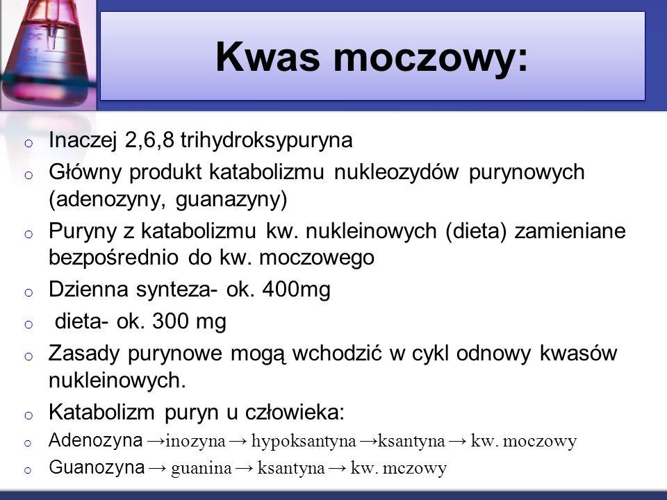 Kwas moczowy: Inaczej 2,6,8 trihydroksypuryna