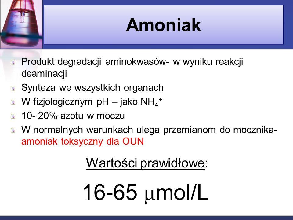 16-65 μmol/L Amoniak Wartości prawidłowe: