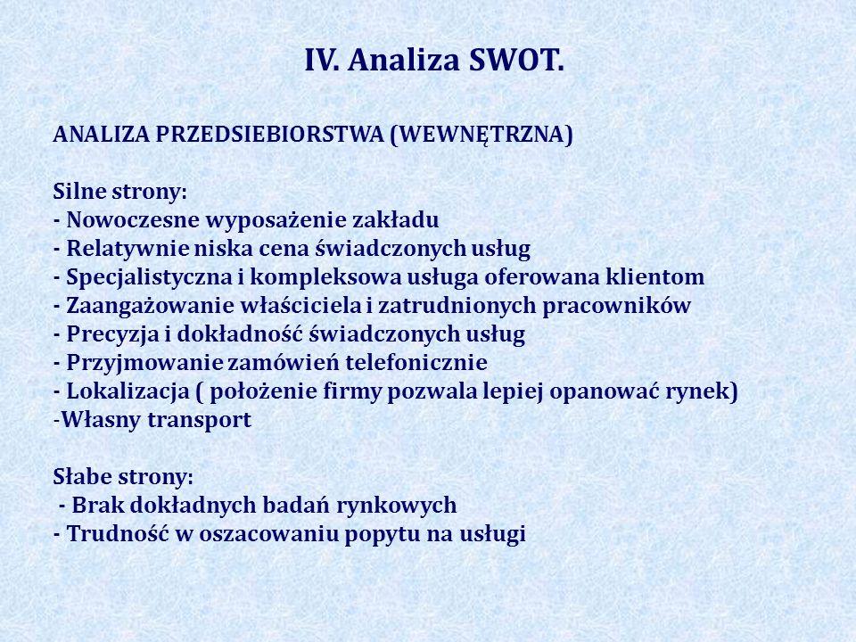IV. Analiza SWOT. ANALIZA PRZEDSIEBIORSTWA (WEWNĘTRZNA) Silne strony: