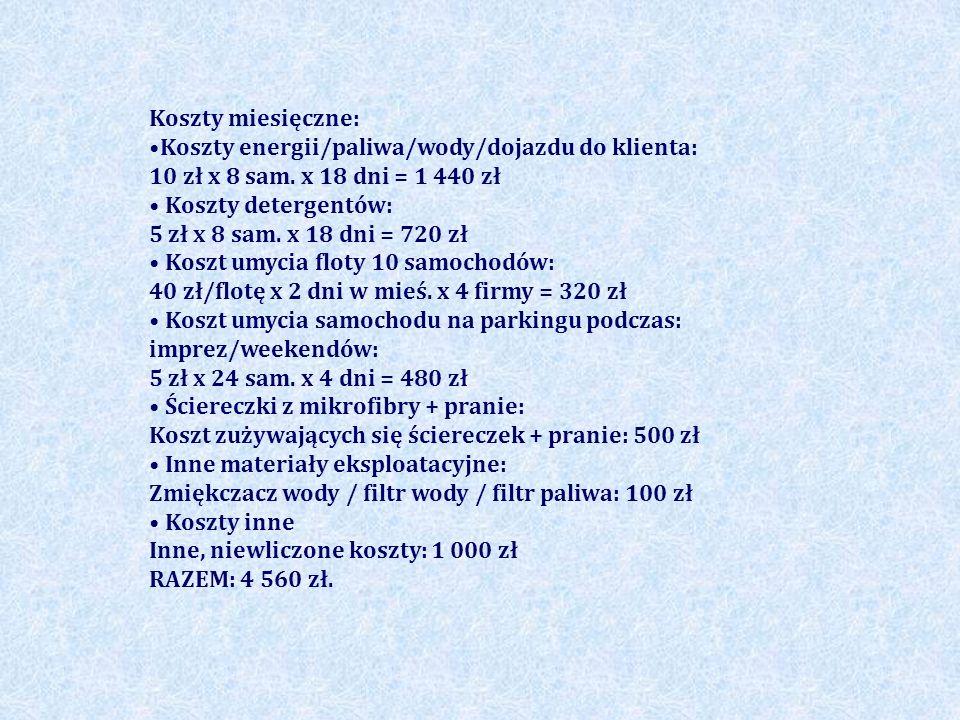 Koszty miesięczne: •Koszty energii/paliwa/wody/dojazdu do klienta: 10 zł x 8 sam. x 18 dni = 1 440 zł.