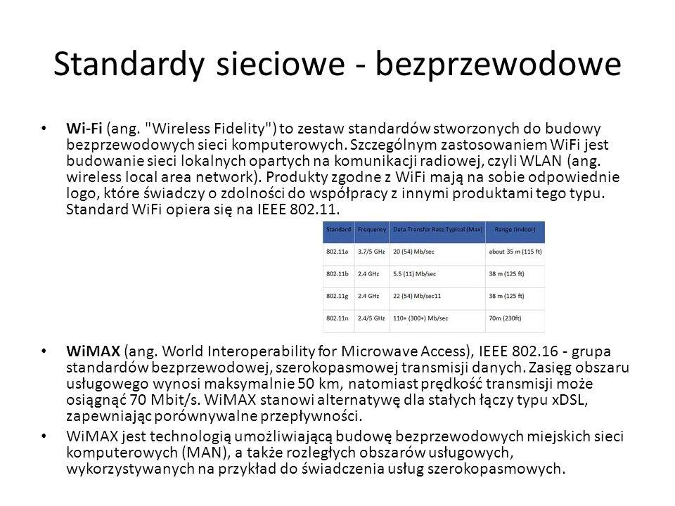 Standardy sieciowe - bezprzewodowe
