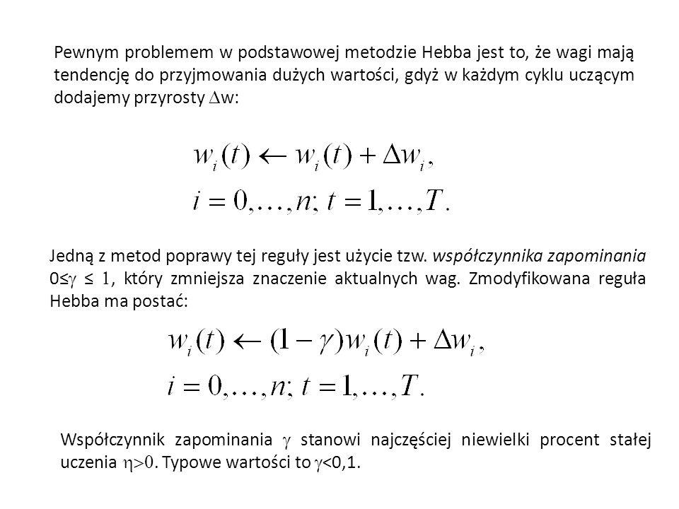 Pewnym problemem w podstawowej metodzie Hebba jest to, że wagi mają tendencję do przyjmowania dużych wartości, gdyż w każdym cyklu uczącym dodajemy przyrosty Dw:
