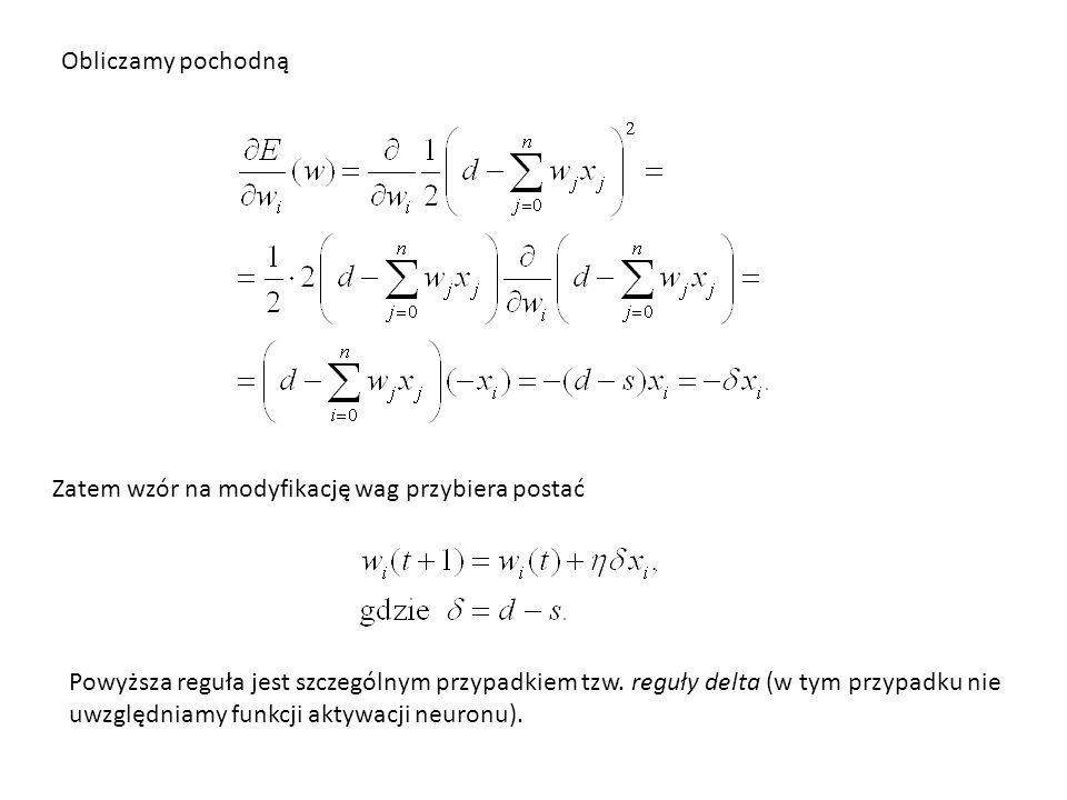 Obliczamy pochodną Zatem wzór na modyfikację wag przybiera postać.