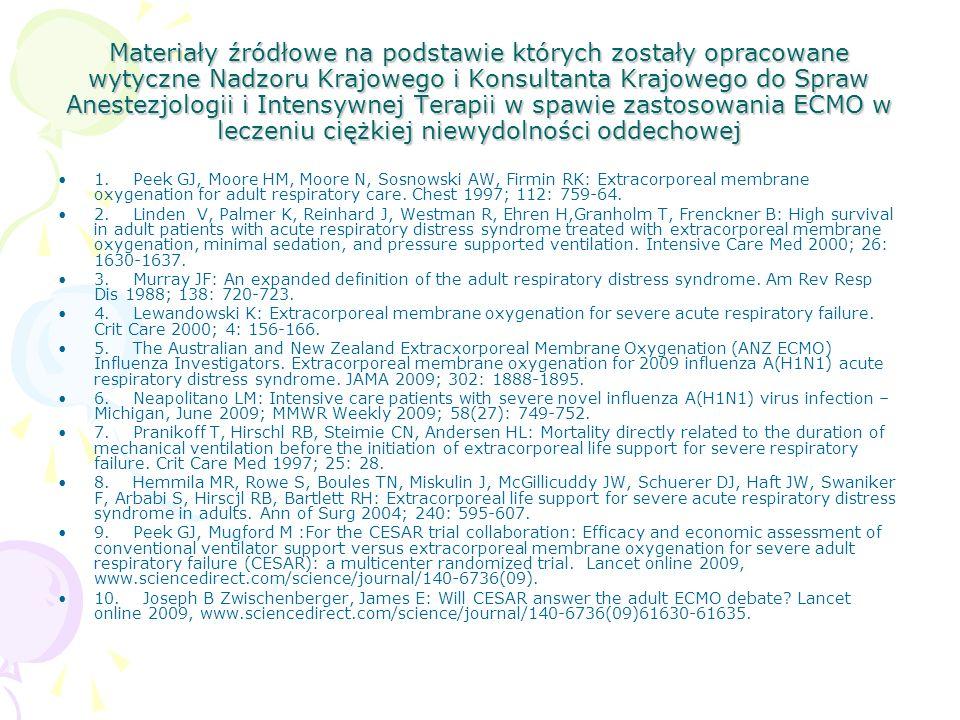 Materiały źródłowe na podstawie których zostały opracowane wytyczne Nadzoru Krajowego i Konsultanta Krajowego do Spraw Anestezjologii i Intensywnej Terapii w spawie zastosowania ECMO w leczeniu ciężkiej niewydolności oddechowej