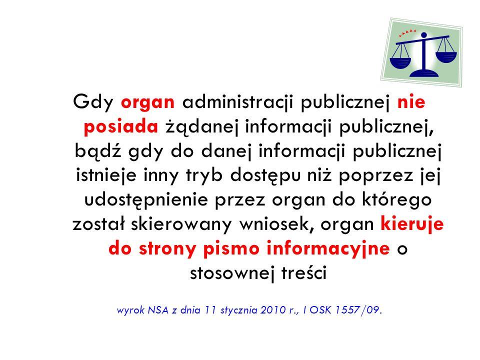 wyrok NSA z dnia 11 stycznia 2010 r., I OSK 1557/09.