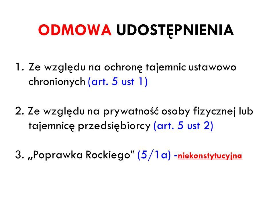 ODMOWA UDOSTĘPNIENIA Ze względu na ochronę tajemnic ustawowo chronionych (art. 5 ust 1)