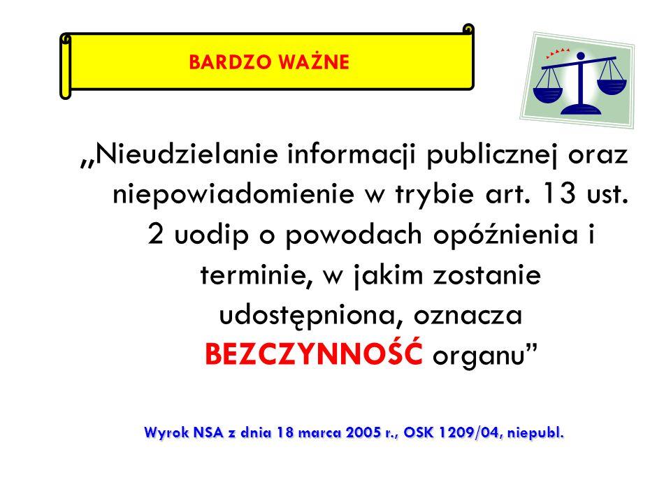 Wyrok NSA z dnia 18 marca 2005 r., OSK 1209/04, niepubl.