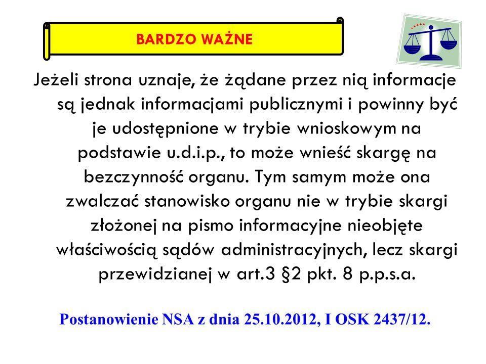Postanowienie NSA z dnia 25.10.2012, I OSK 2437/12.