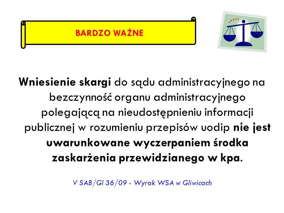 V SAB/Gl 36/09 - Wyrok WSA w Gliwicach