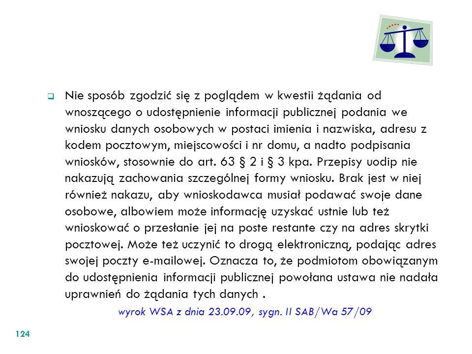 wyrok WSA z dnia 23.09.09, sygn. II SAB/Wa 57/09