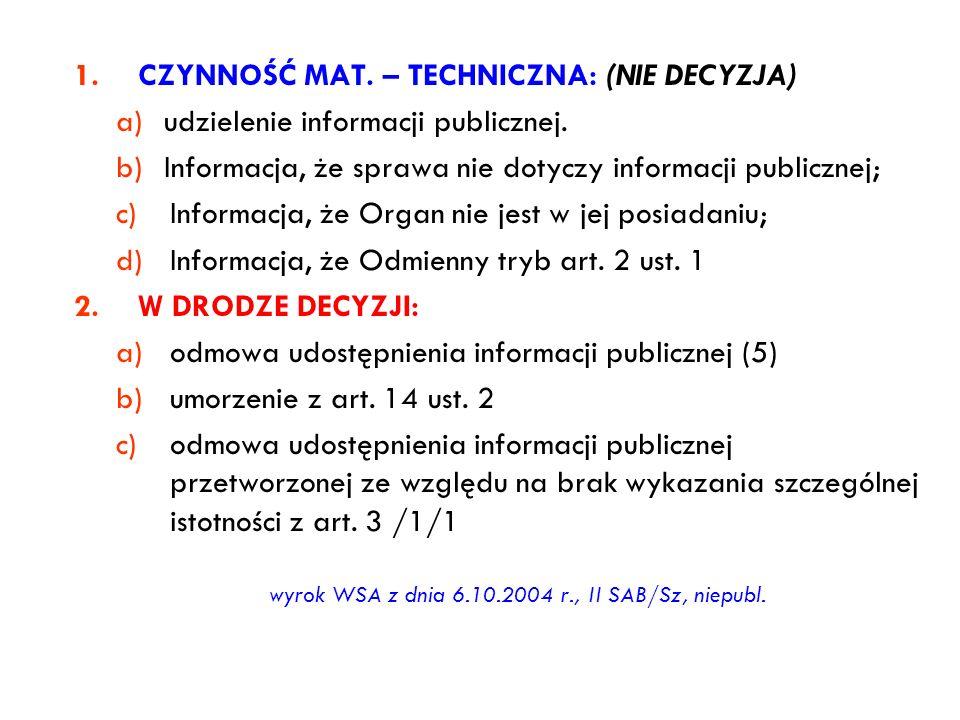 wyrok WSA z dnia 6.10.2004 r., II SAB/Sz, niepubl.